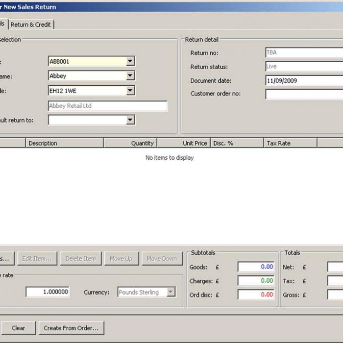 Enhance Sage 200 Plus Pack for Sage 200 Sales Order Processing Enter New Sales Return Eureka Addons