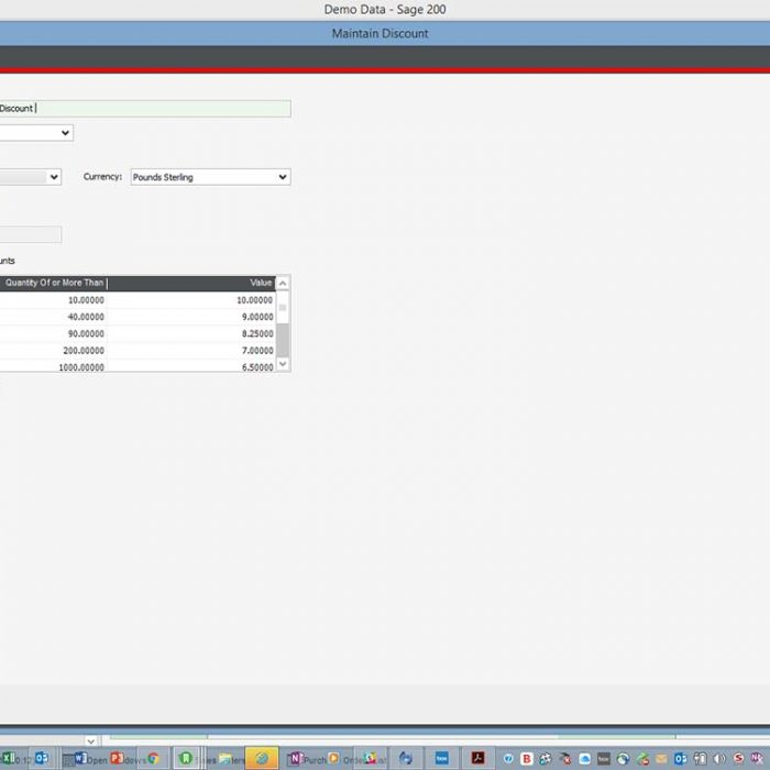 Purchase Order Plus for Sage 200 Quantity Break Discounts Screen Eureka Addons
