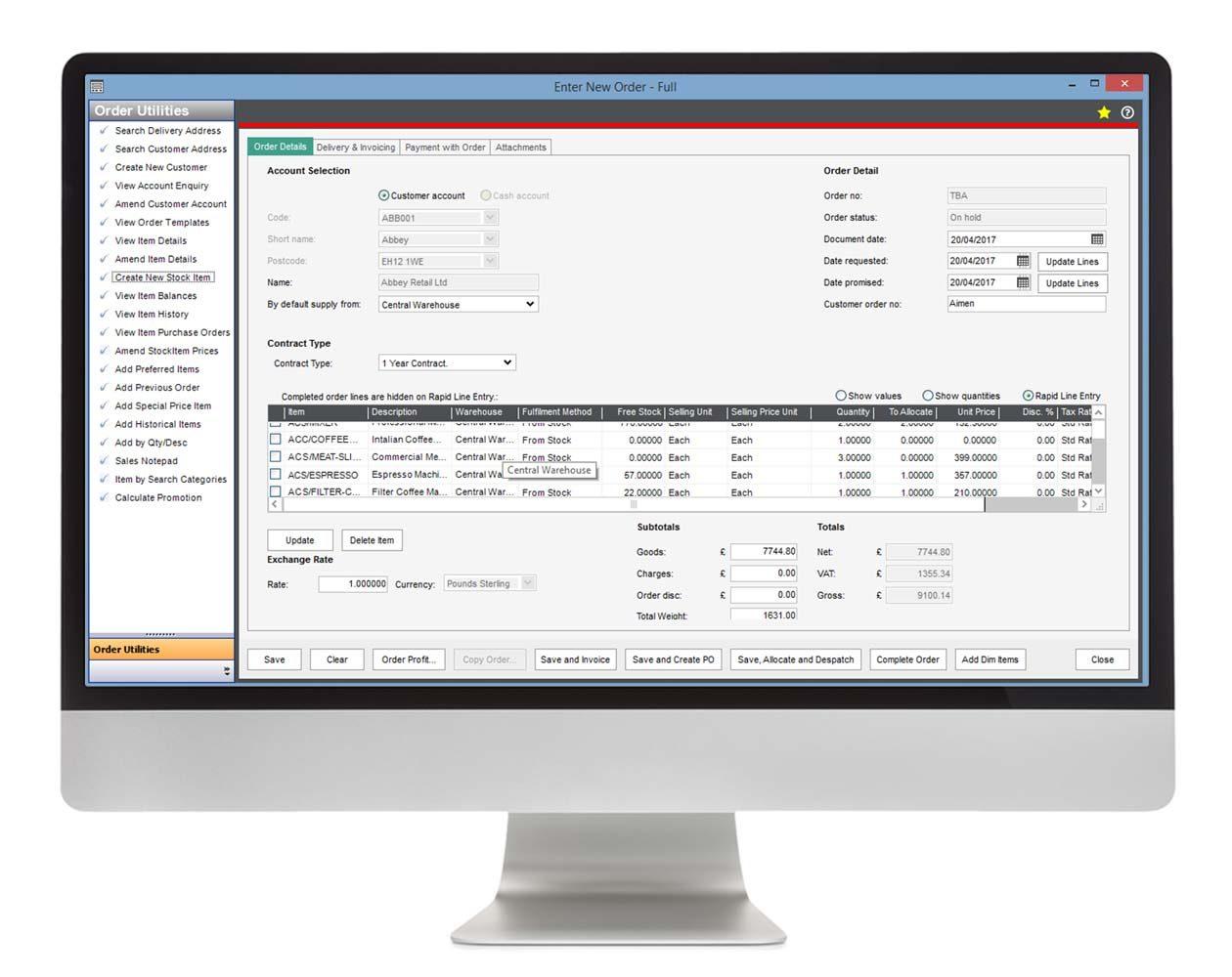Sales Order Plus for Sage 200 Eureka Addons
