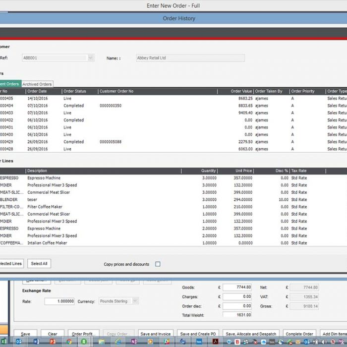 Sales Order Plus for Sage 200 Previous Orders Select All or Specific Order Lines Eureka Addons