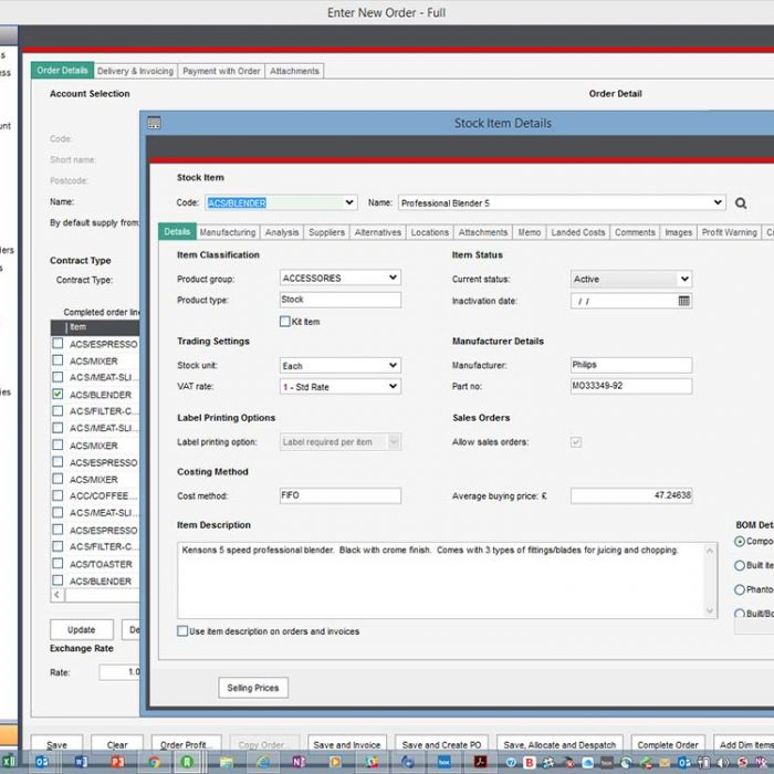 Sales Order Plus for Sage 200 View Item Detail Eureka Addons