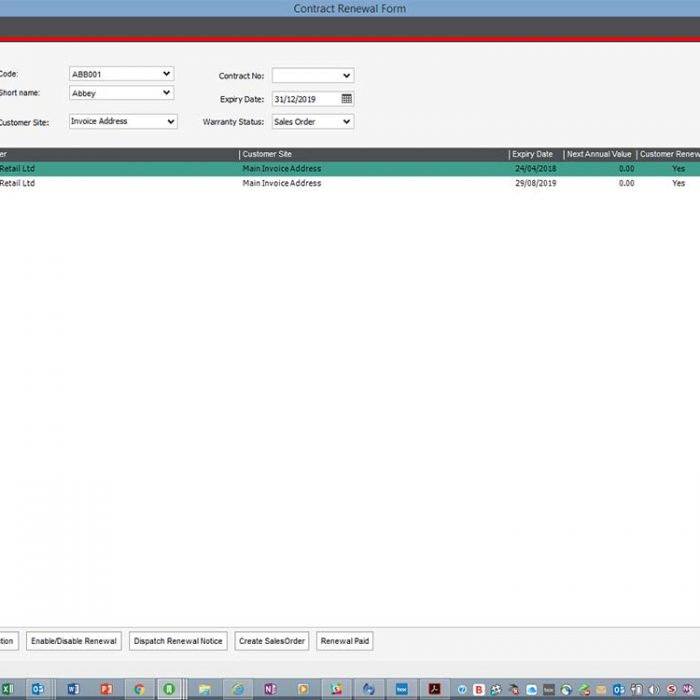 Warranties Service and Repair for Sage 200 Contract Renewal Screen Eureka Addons