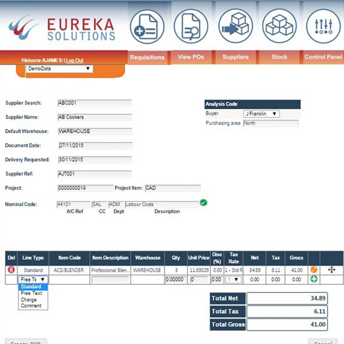 Web Purchase Order Requisitions for Sage-200 Create Requisition Eureka Addons