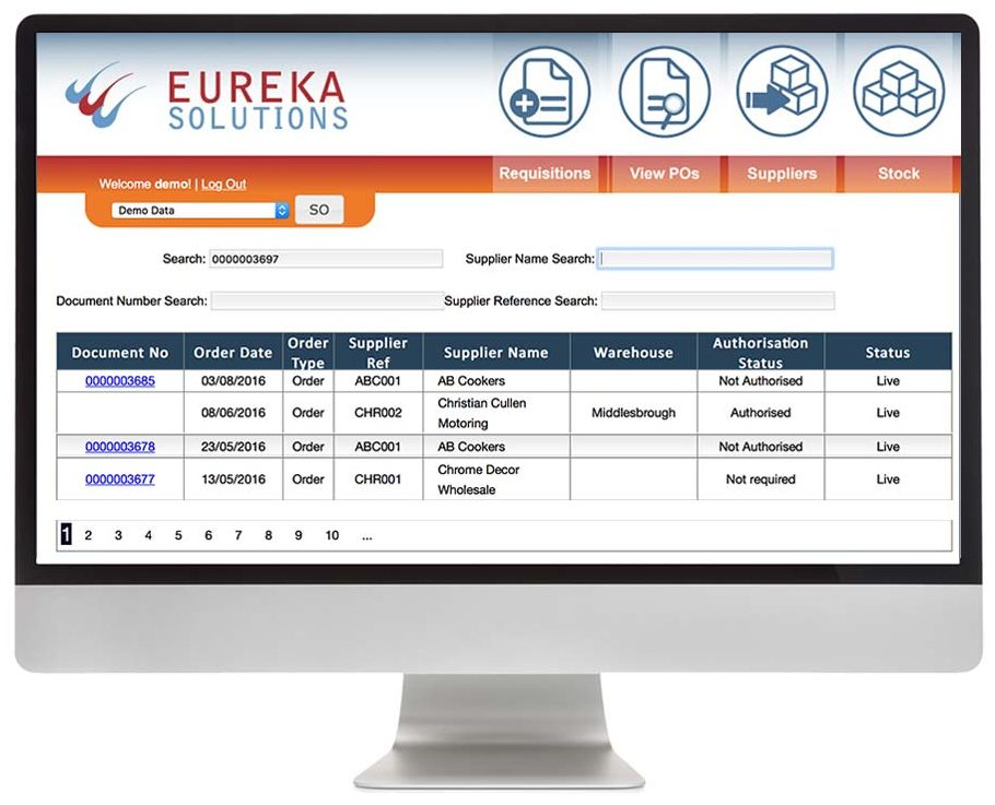 Web Purchase Order Requisitions for Sage 200 Order Detail Eureka Addons